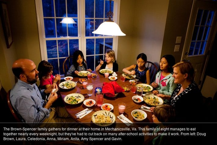 A family dinner that is featured on NPR's report. Photo Credit: Maggie Starbard/NPR.